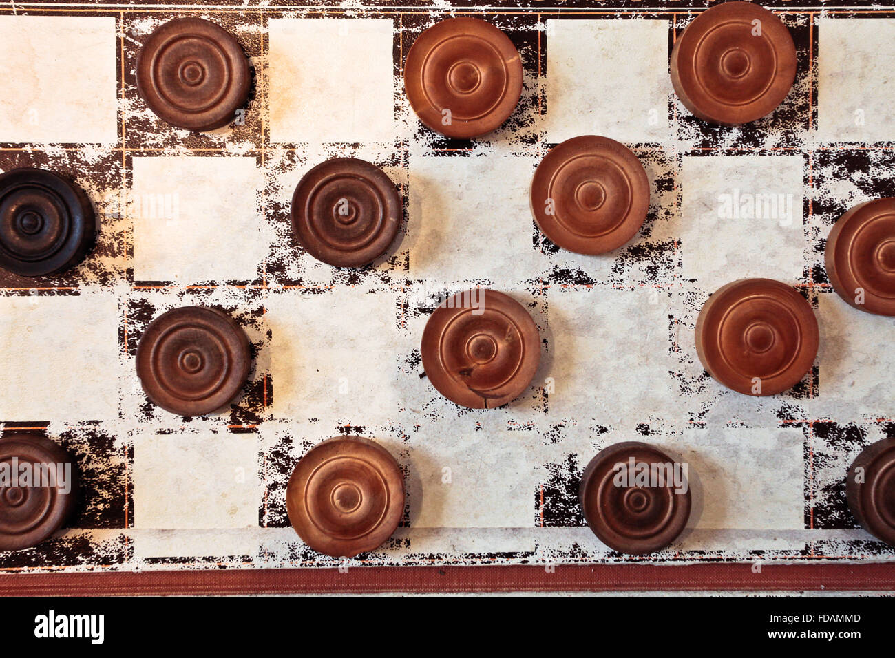 Part of a vintage game of draughts - Stock Image