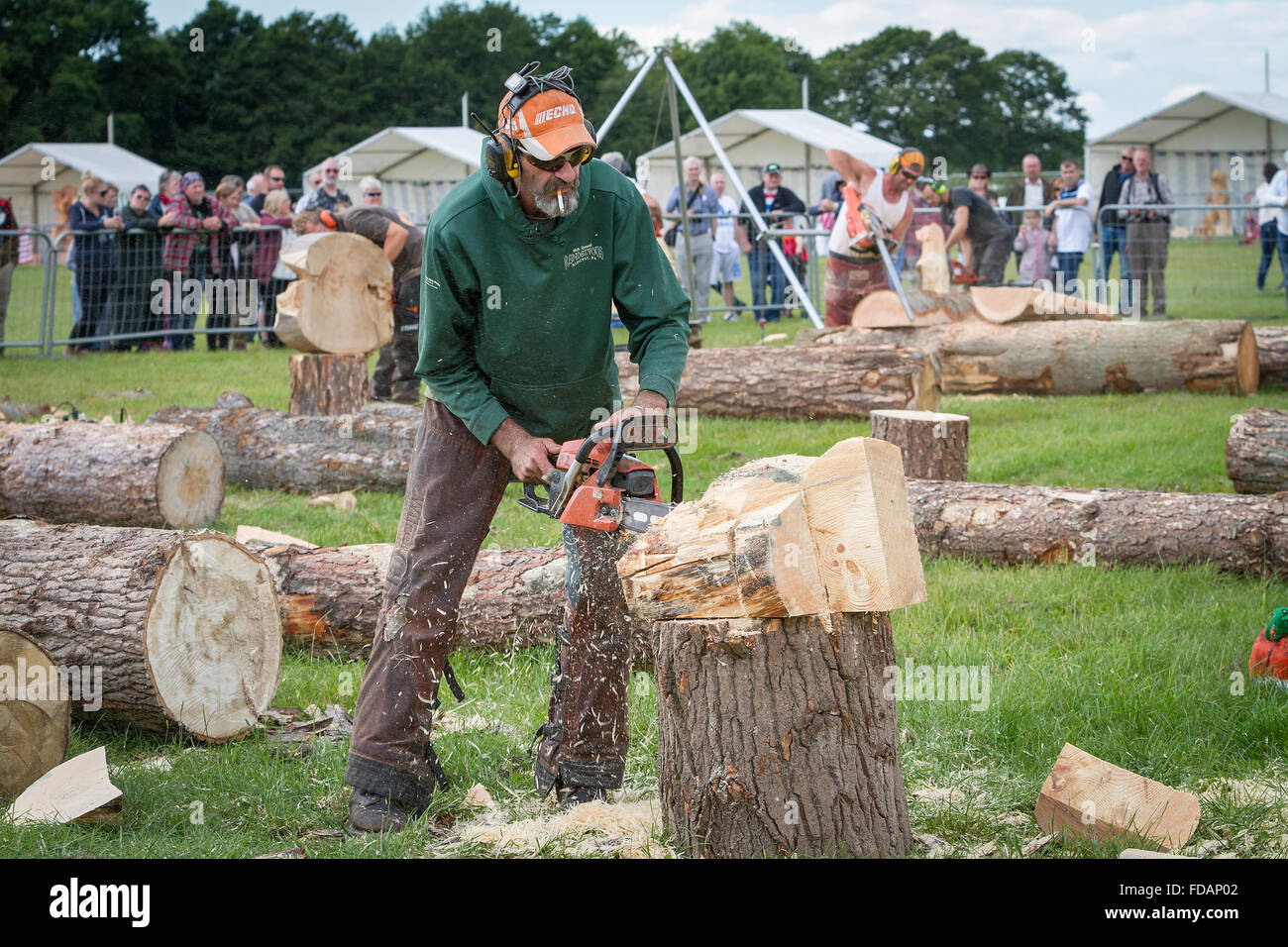 Th english open chainsaw carving stock photos
