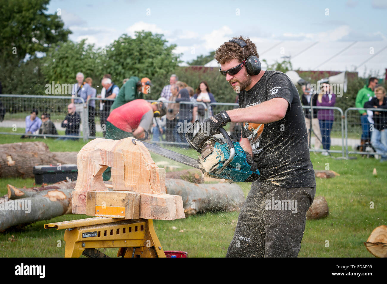 Knutsford, Cheshire, UK, 29th Aug, 2015. The 11th English Open Chainsaw Carving Competition Cheshire Game & - Stock Image