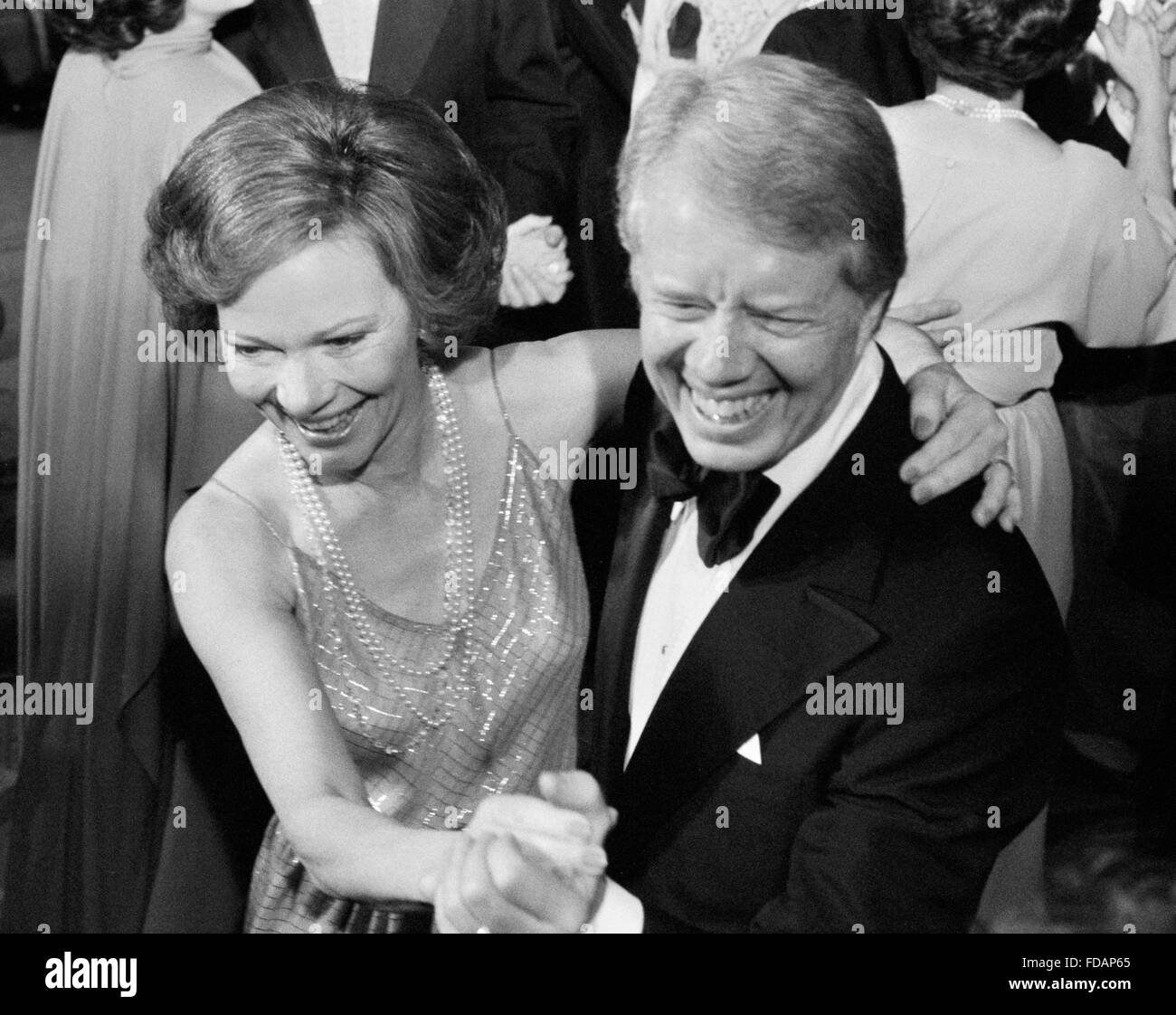 Jimmy Carter and his wife, Rosalynn Carter, dancing at a White House Congressional Ball, Washington, DC, December - Stock Image