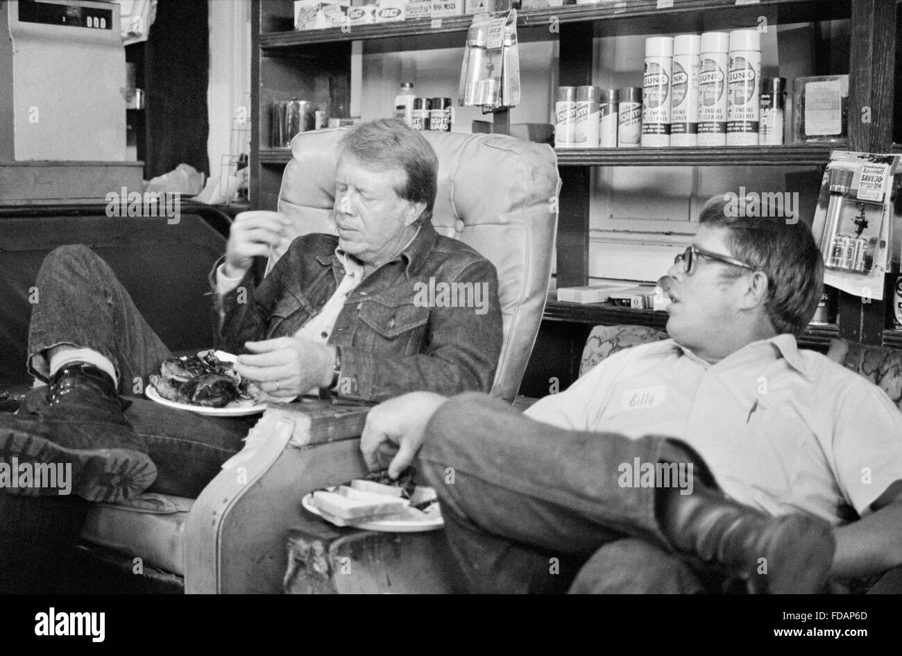 Jimmy Carter with his brother, Billy Carter, during a campaign stop at Billy's gas station, Plains, Georgia, - Stock Image