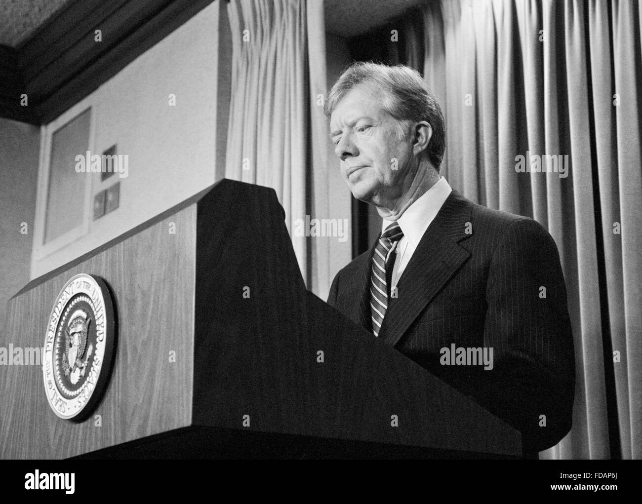 Jimmy Carter, 39th President of the USA, speaking to the press in April 1980 - Stock Image
