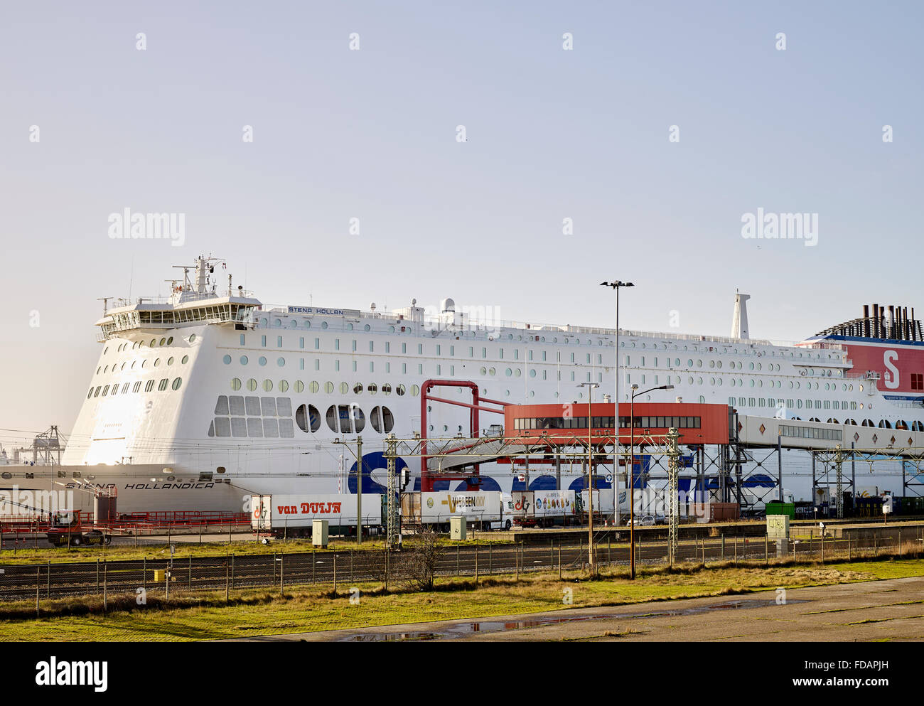 Trucks drive to Stena Line ferry for transport from Hoek van Holland to England - Stock Image