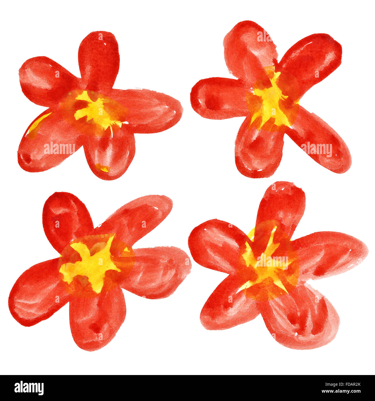 Set of red watercolor flowers isolated over the white background ...