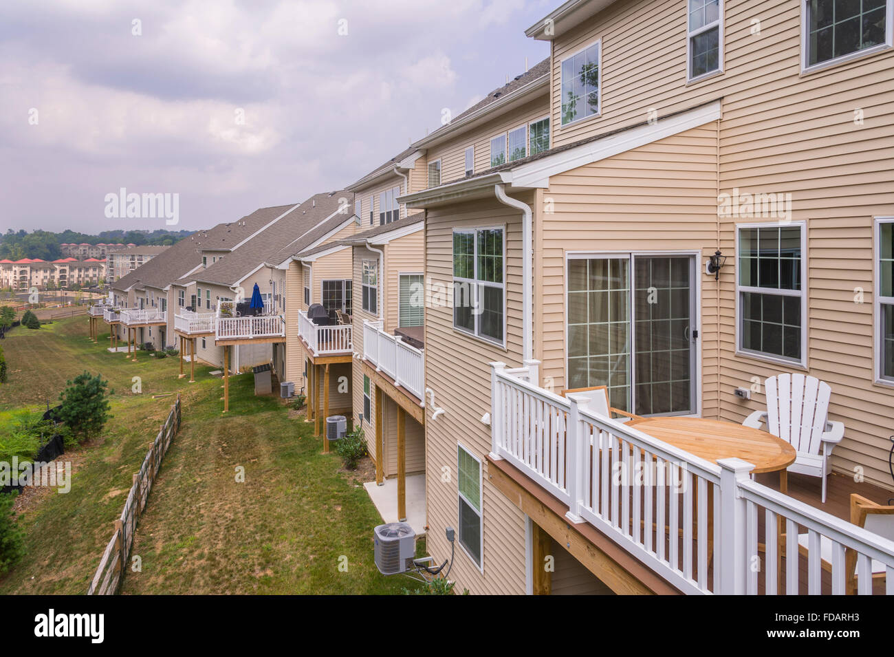Row Of Suburban Houses, Back Porches Stock Photo