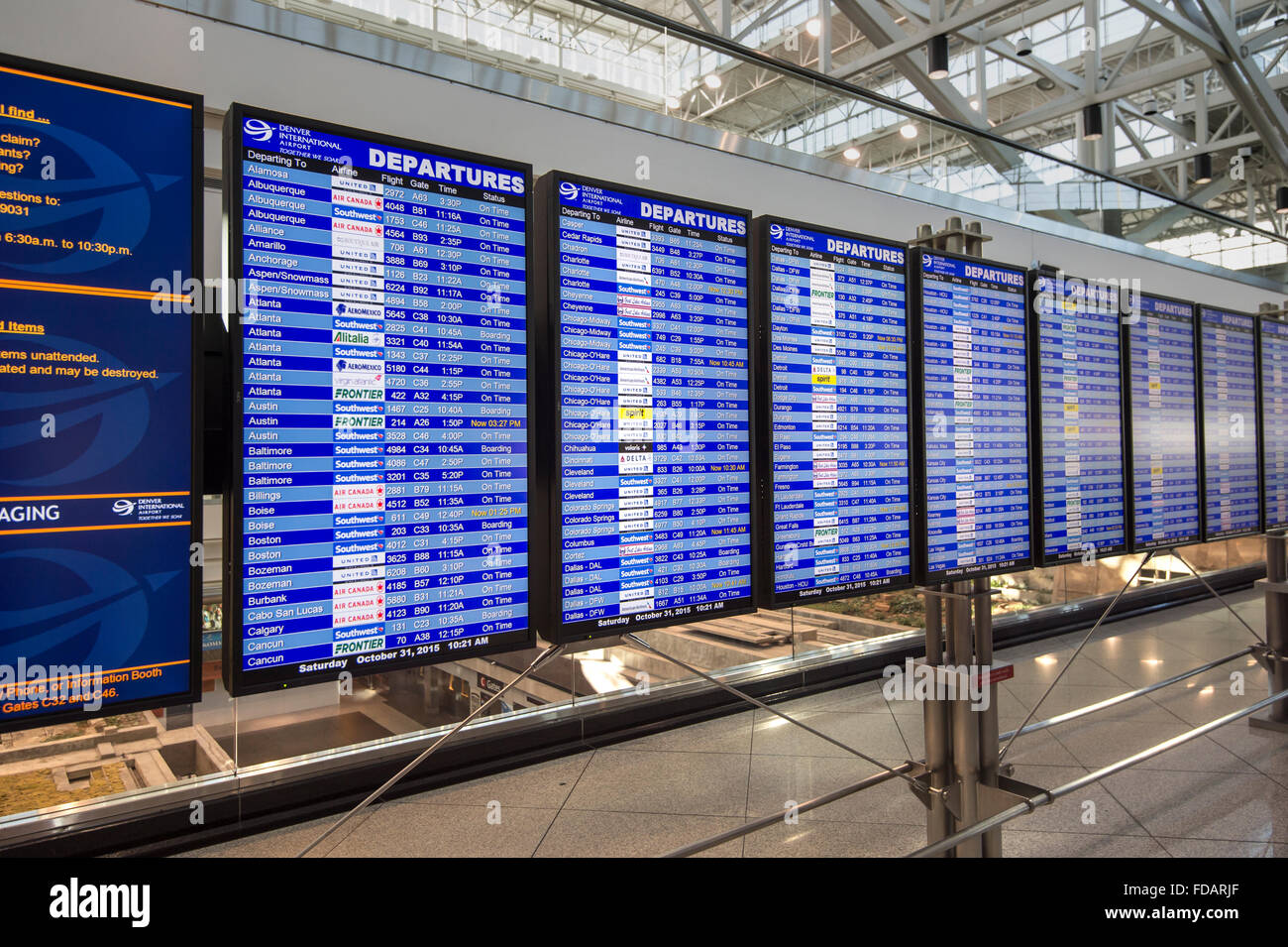 Airport Arrivals & Departures Board - Stock Image