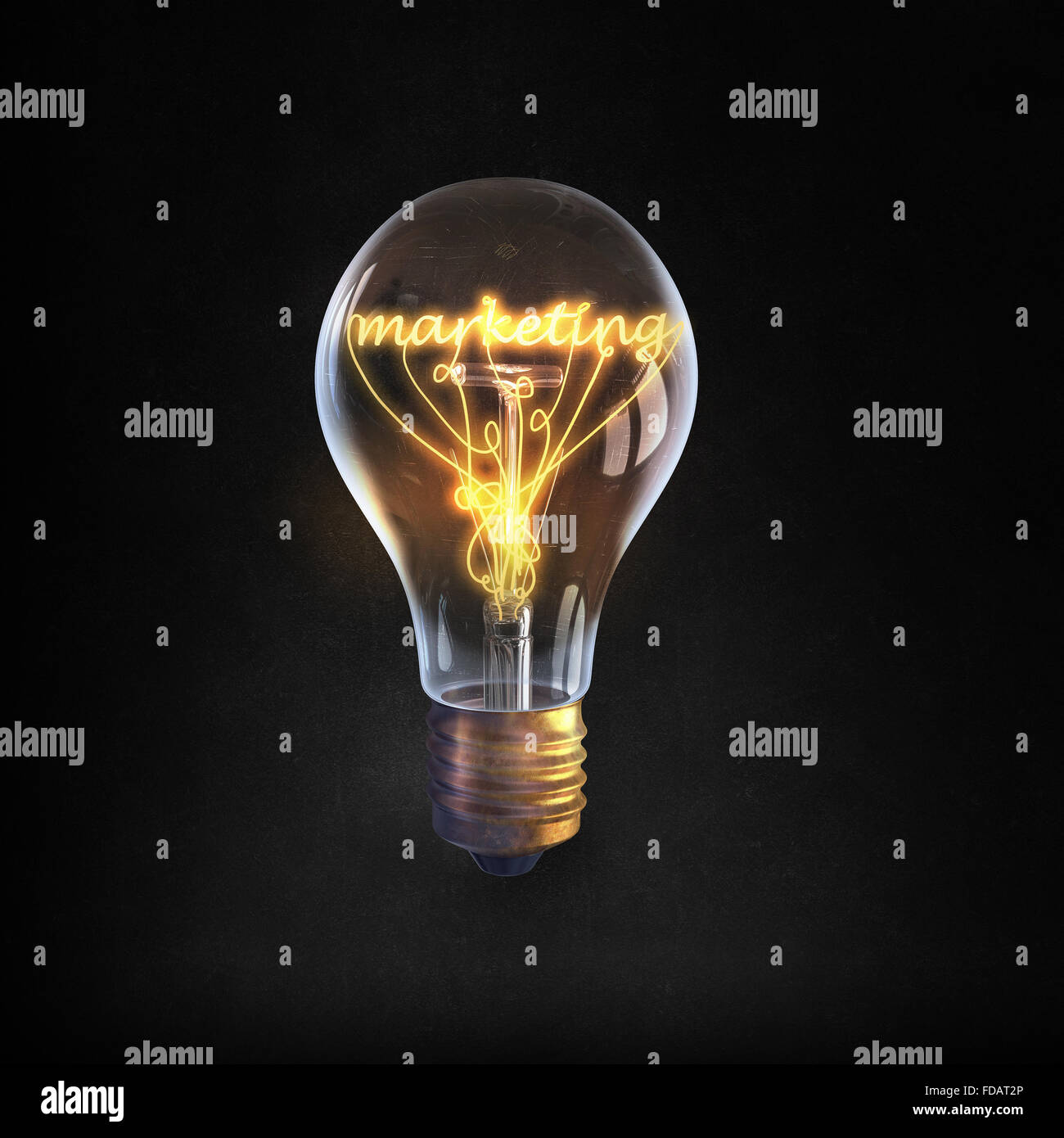 Glowing glass light bulb with marketing word inside - Stock Image
