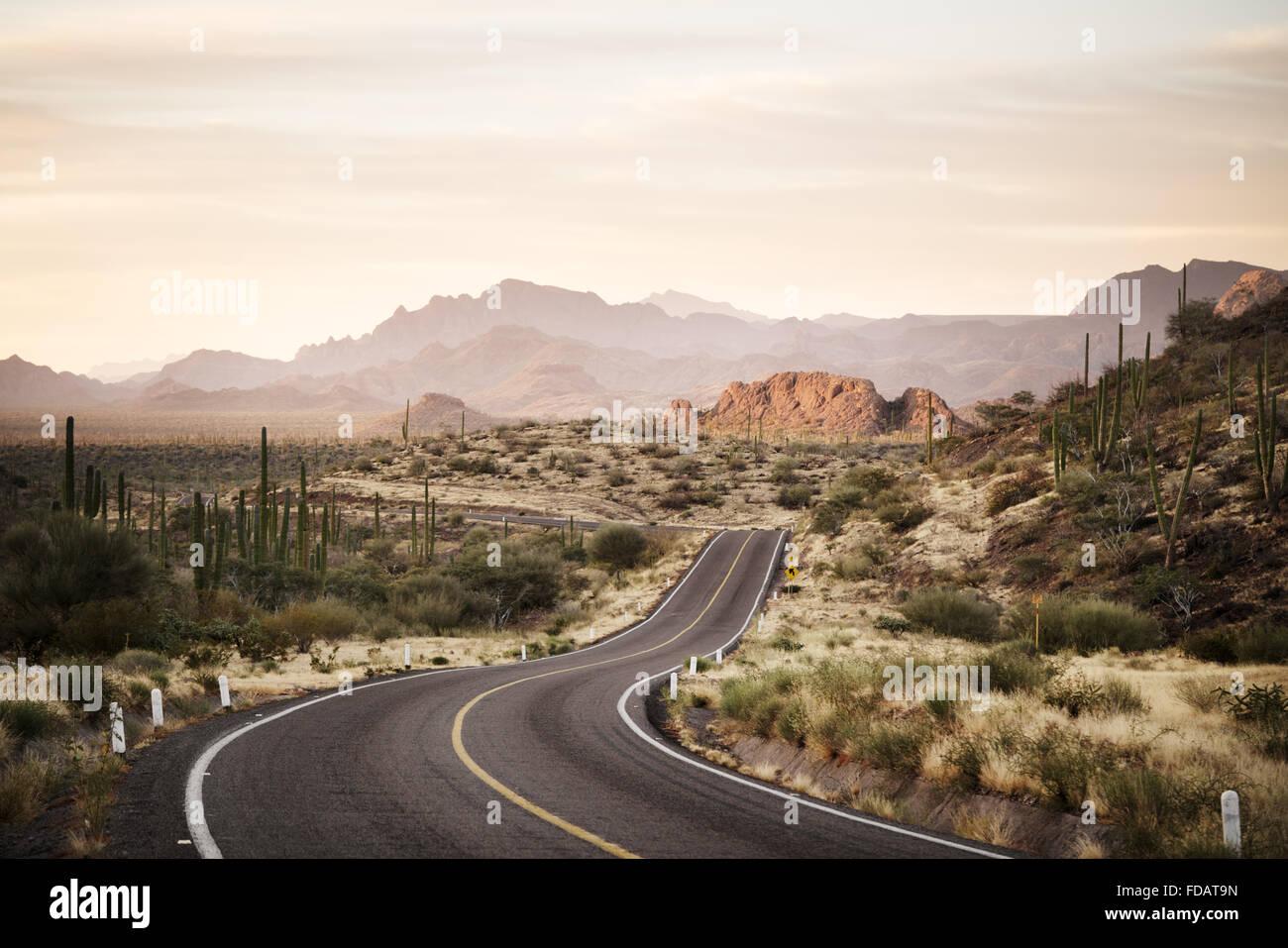 Winding road through the Mexican desert of Baja California - Stock Image