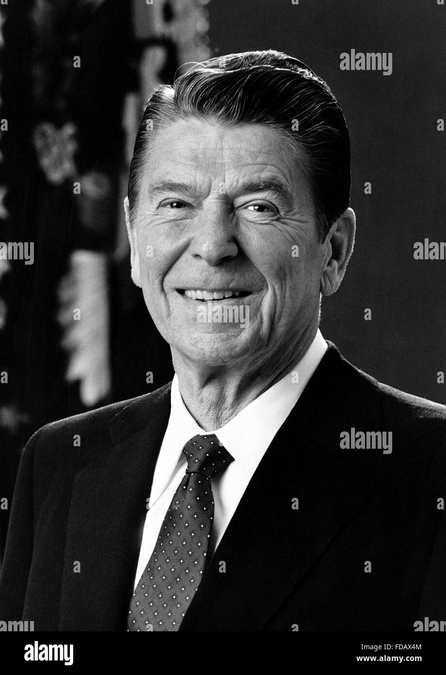 Official White House photo of Ronald Reagan, the 40th President of the USA, c.1981-1983 - Stock Image