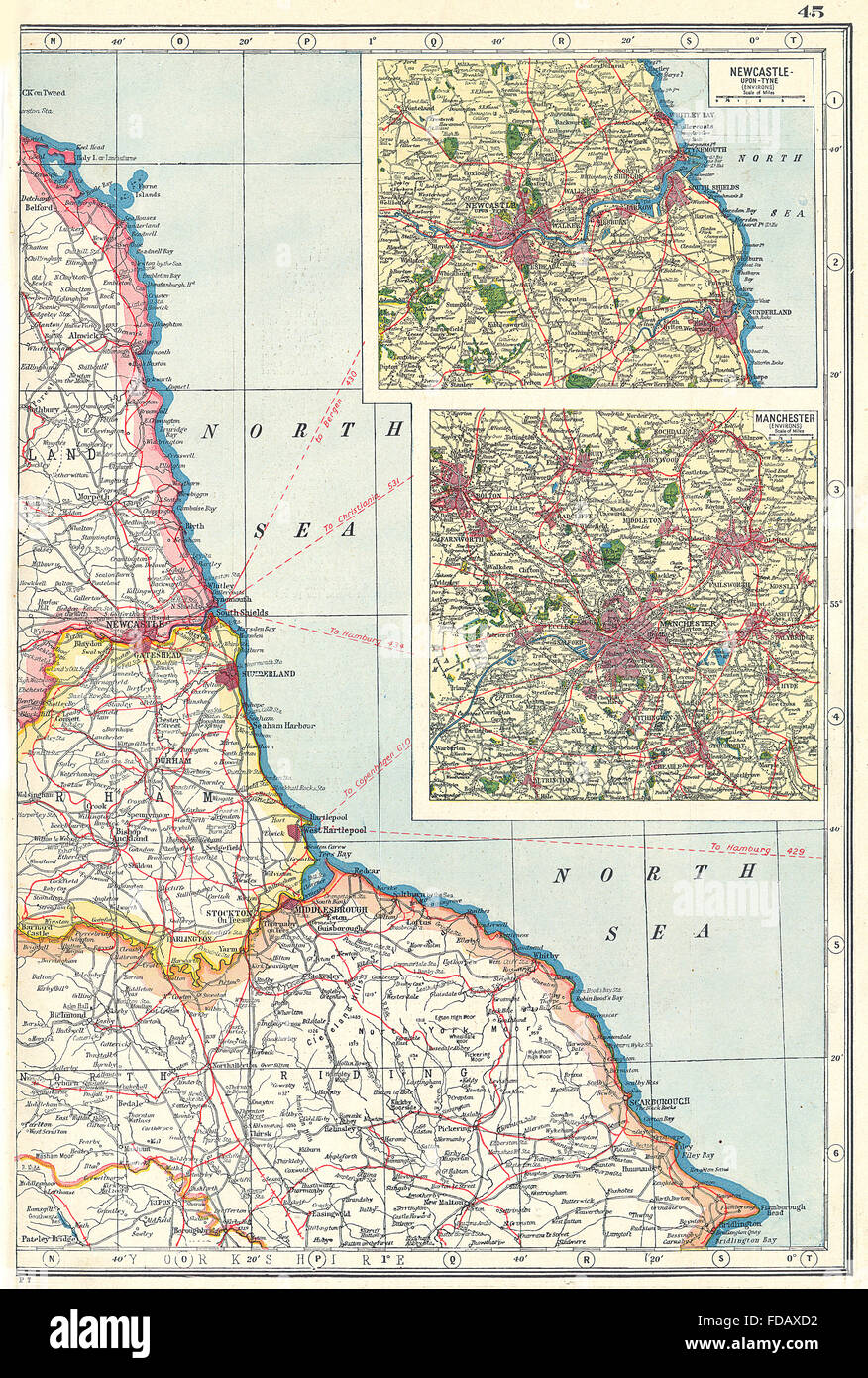 Map Of England Durham.North East England Coast Durham Yorks Northumbs Newcastle Upon Tyne