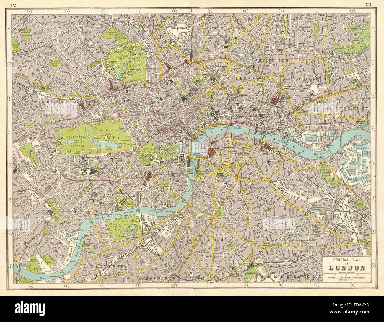 london central london plan harmsworth 1920 vintage map stock image