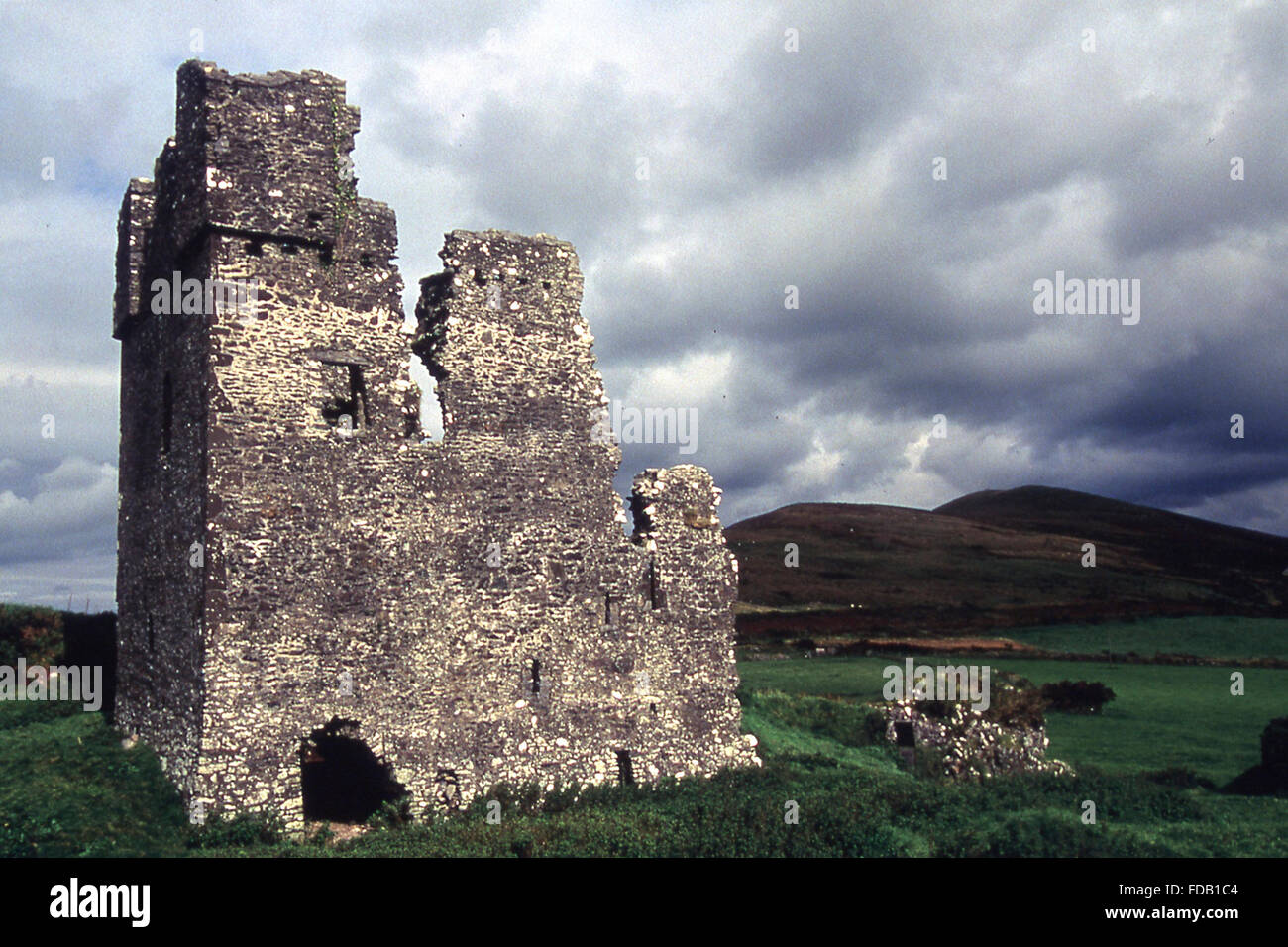 ruined castle on Dingle Peninsula County Kerry West coast of Ireland - Stock Image