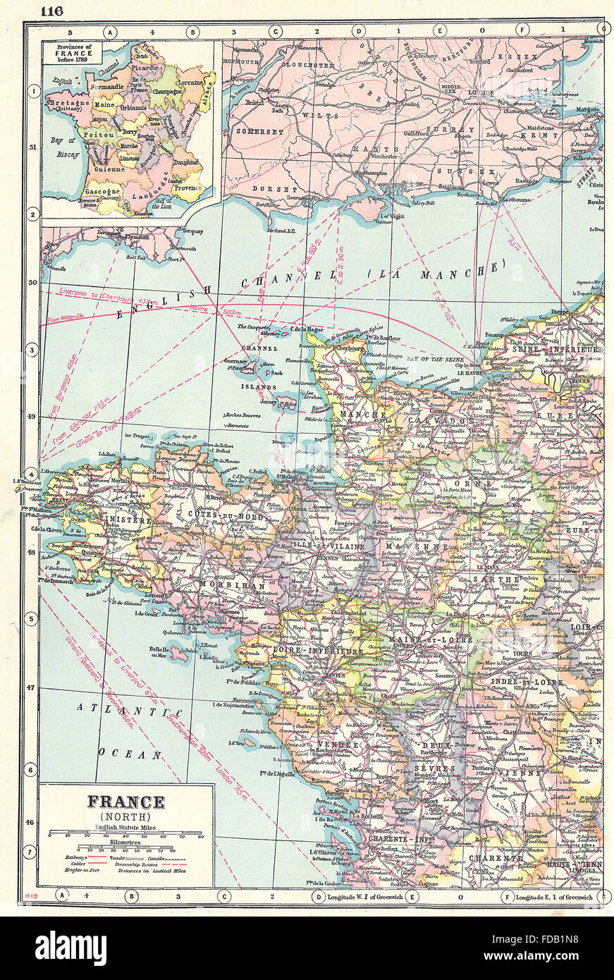 Map Of North West France.France North West Showing Departements Inset 1789 Provinces 1920