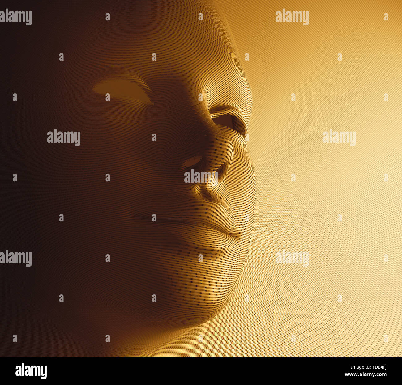 Textured human face in golden mask format. - Stock Image