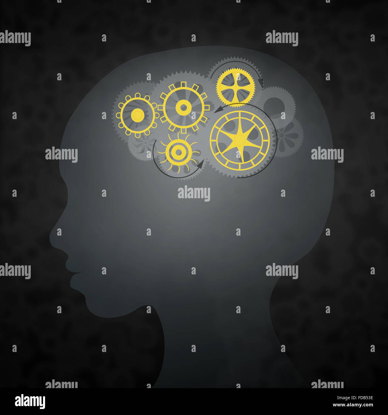 Silhouette of male head with gears in brain - Stock Image