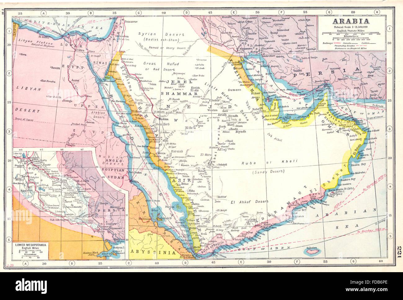 arabia saudi arabia uae oman yemen inset lower mesopotamia iraq 1920 map