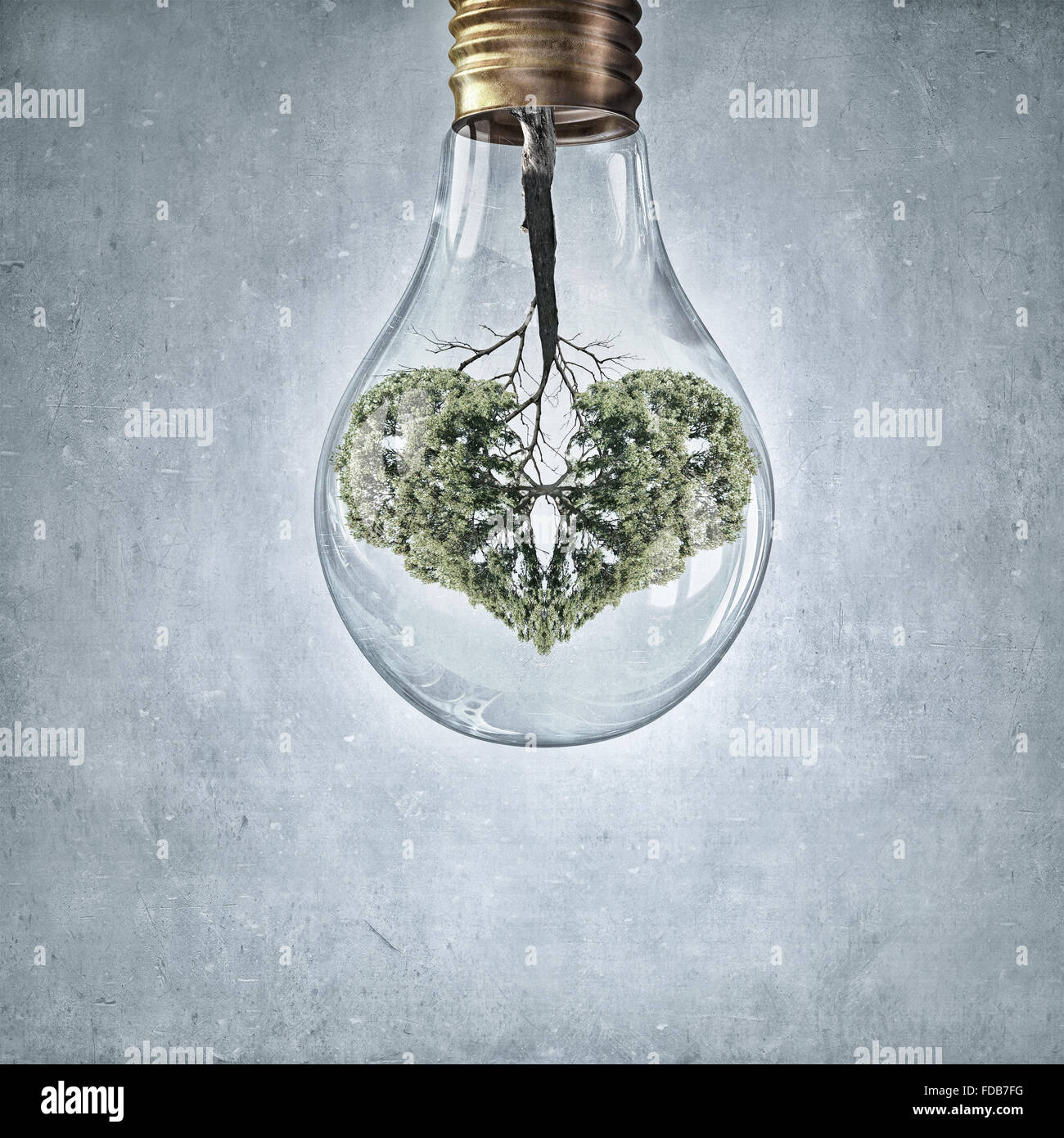 Glass lightbulb with green tree growing inside - Stock Image
