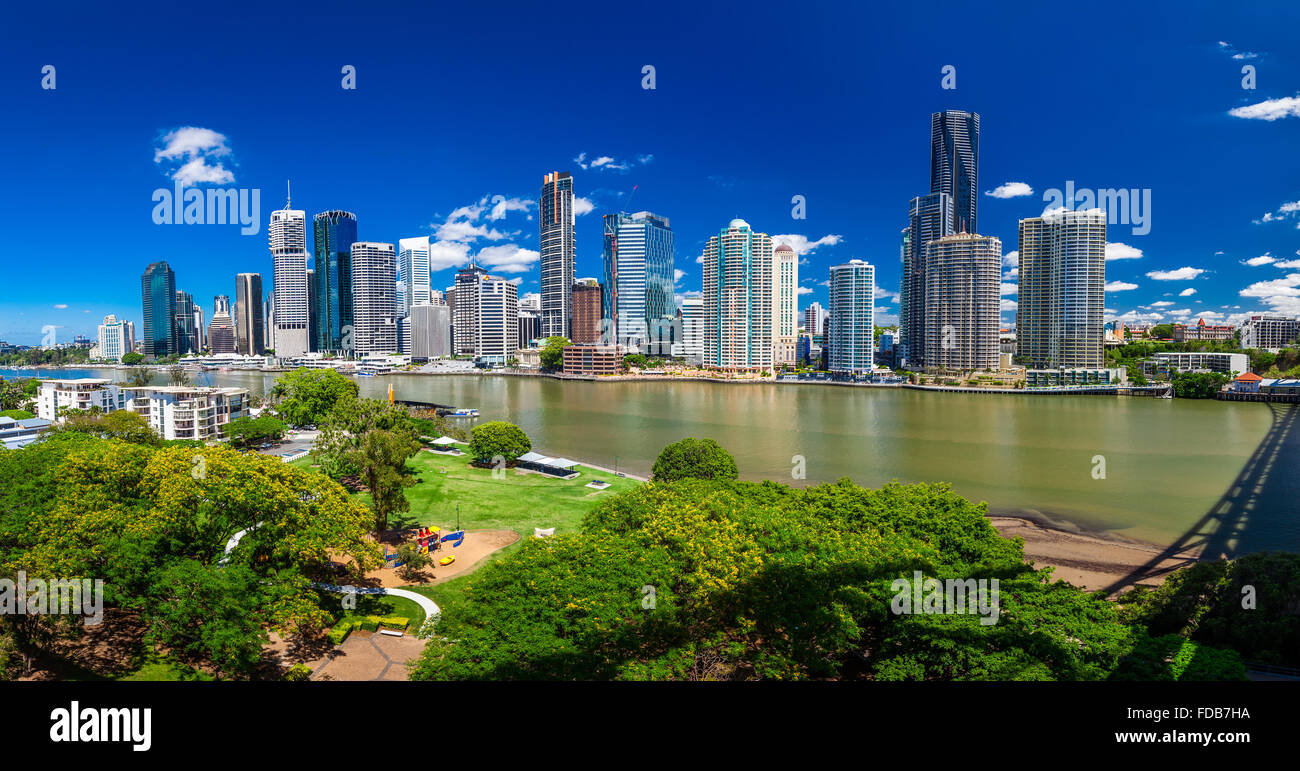 BRISBANE, AUS - NOV 18 2015: Panoramic view of Brisbane Skyline and the river. It is Australias third largest city, - Stock Image