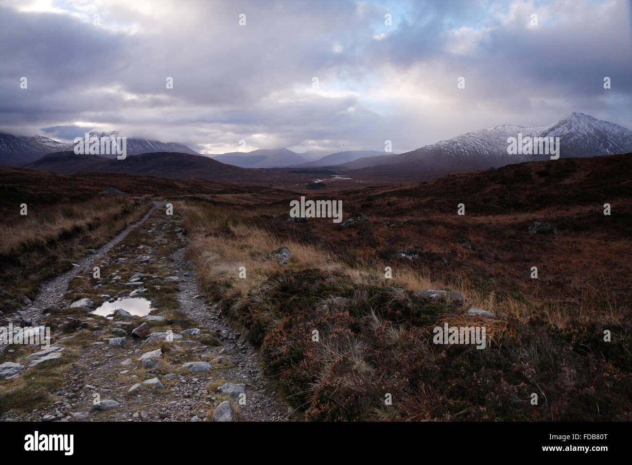 Remote, rugged path across Rannoch Moor, near Glencoe, Scottish Highlands - Stock Image
