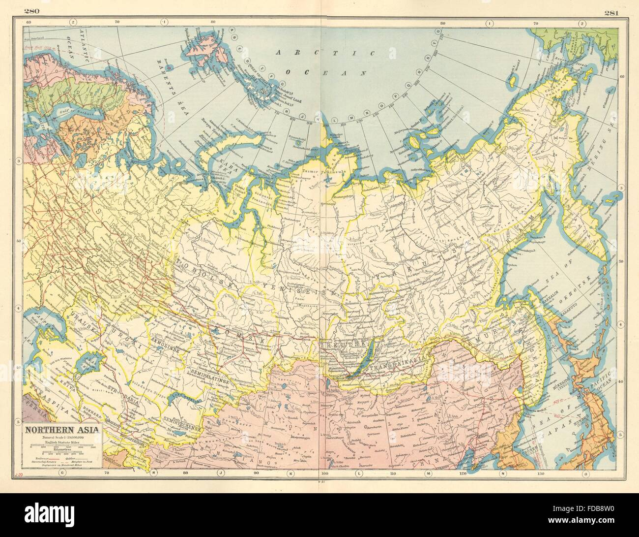 Where Is Siberia On A World Map.Russia Northern Asia Siberia Mongolia Arctic Ocean Harmsworth