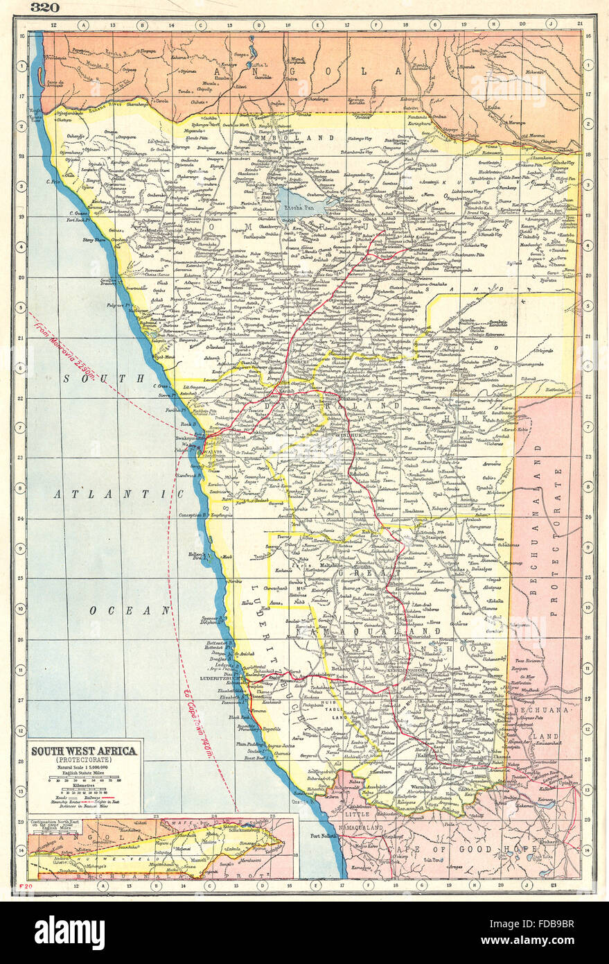 NAMIBIA: South West Africa protectorate. HARMSWORTH, 1920 vintage map - Stock Image