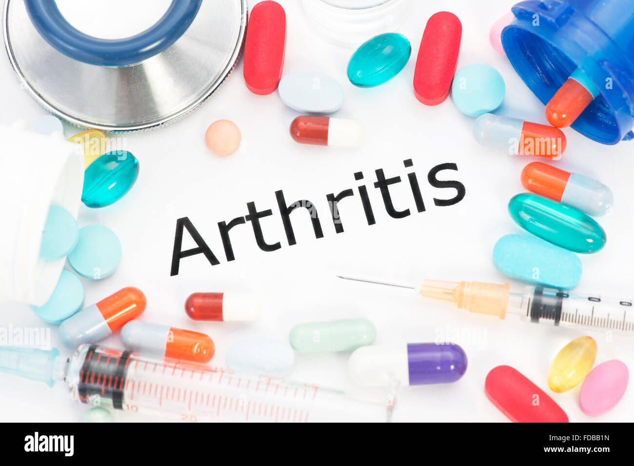 Arthritis concept photo with medication. - Stock Image