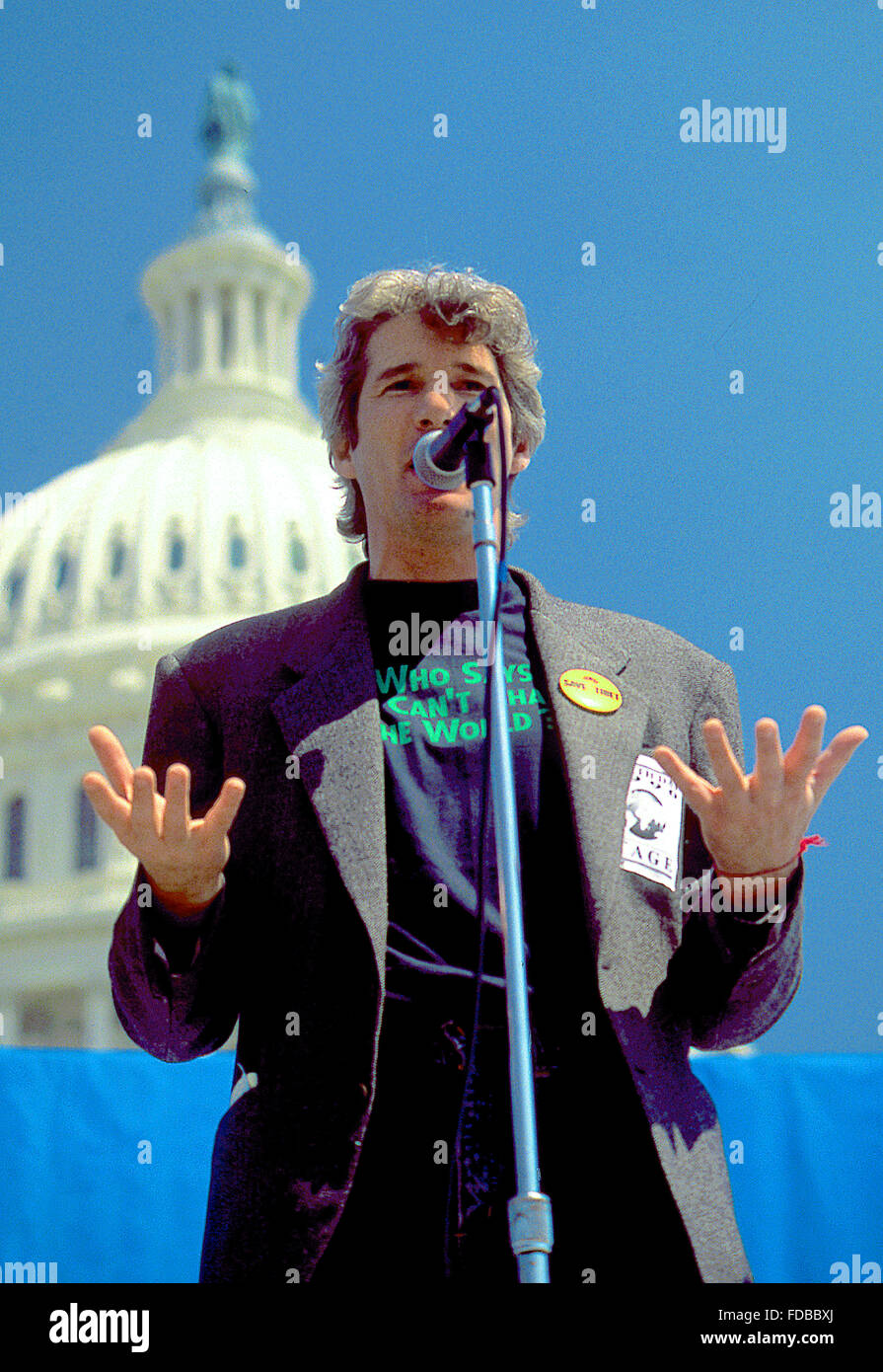 Washington, DC., USA, 22nd April , 1990 Richard Gere at Earth Day. Earth Day is an annual event, celebrated on April - Stock Image