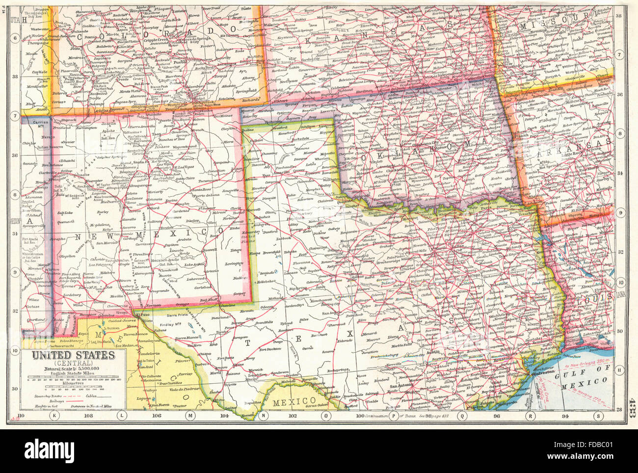 Map Of New Mexico And Texas USA SOUTH CENTRE: New Mexico Oklahoma North Texas. HARMSWORTH