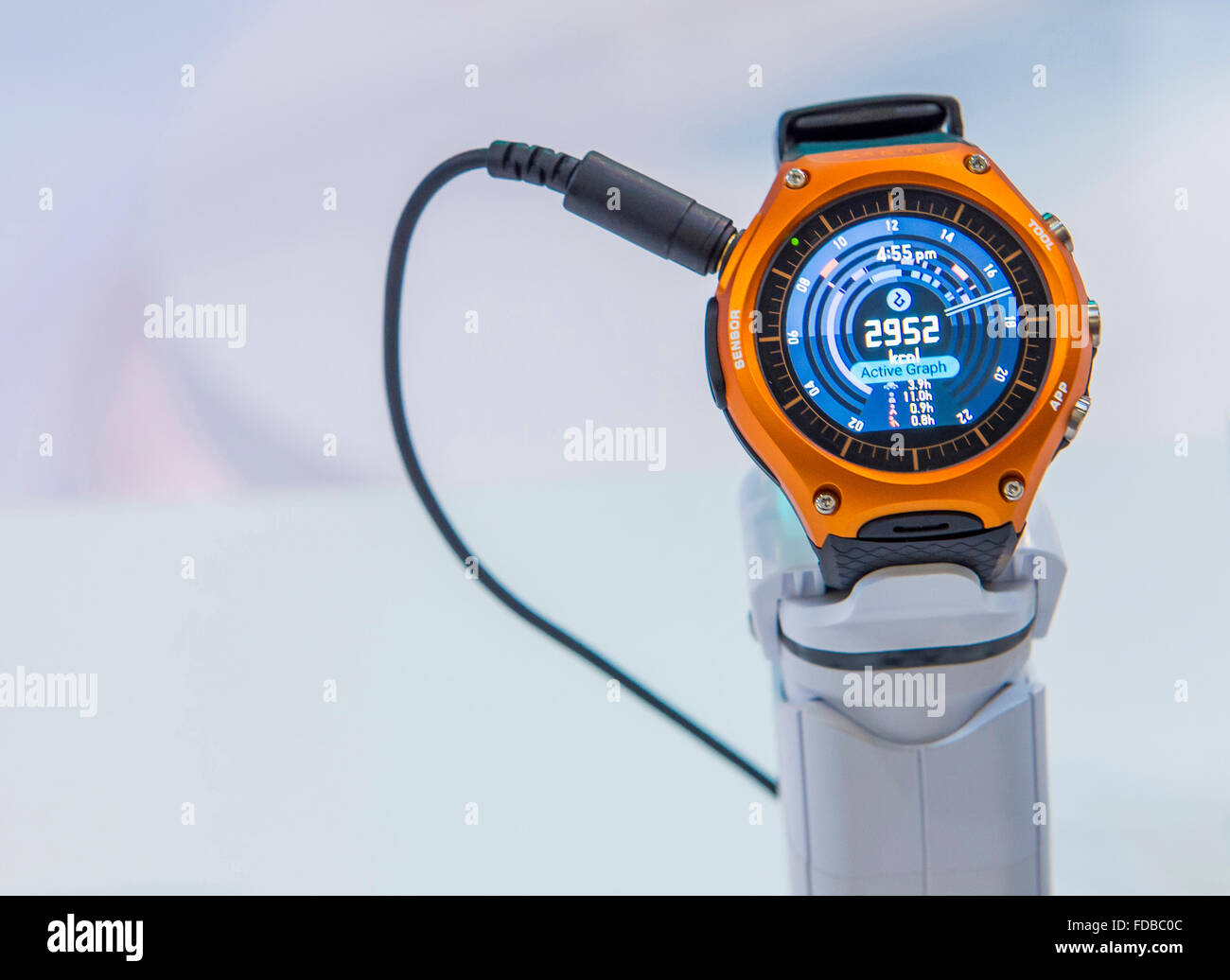 Smart watch at the Casio booth at the CES show held in Las Vegas - Stock Image
