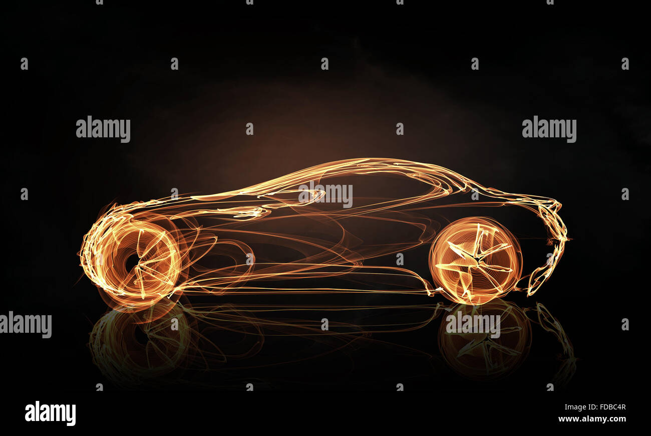 Glowing Abstract Car Outline Silhouette On Dark Background Stock