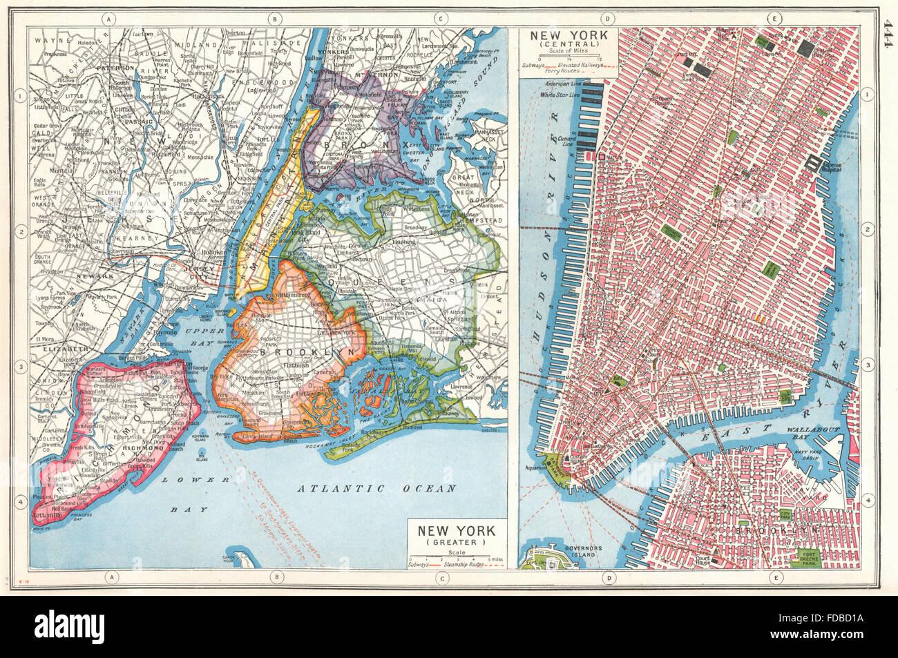 Map Of New York Showing Queens.New York City Nyc Lower Manhattan Queens Bronx Brooklyn Richmond