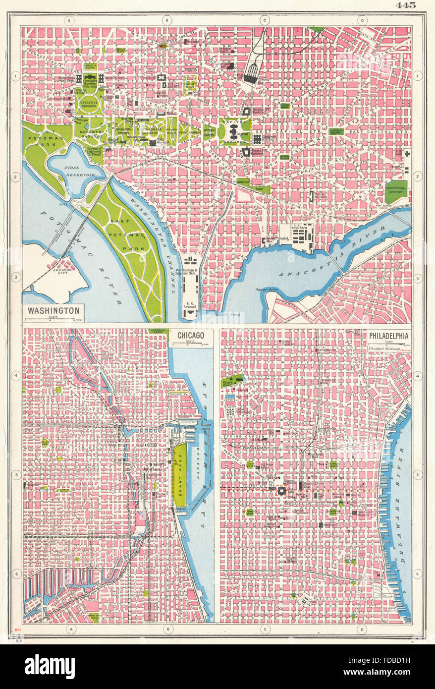 USA CITIES: Washington DC Chicago & Philadelphia city plans, 1920 ...