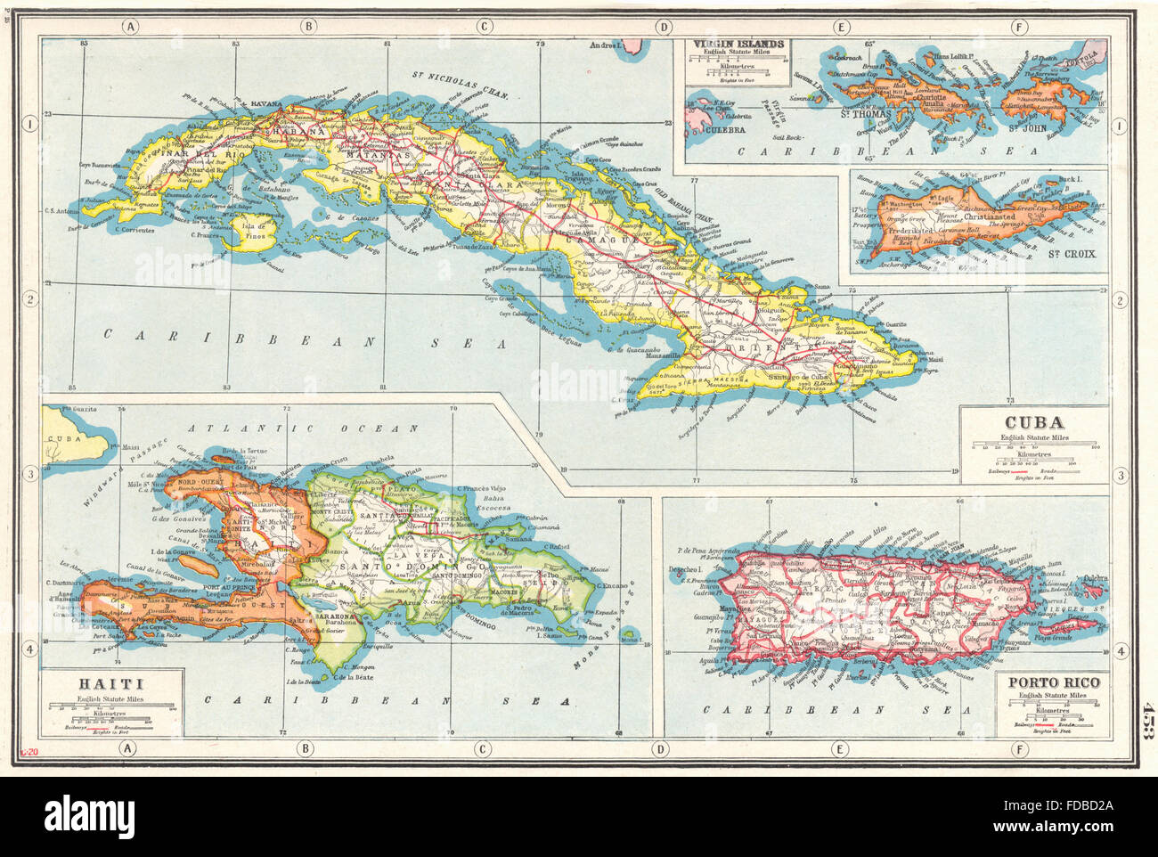 WEST INDIES:Cuba Puerto Rico Hispaniola Virgin Islands St Croix ...