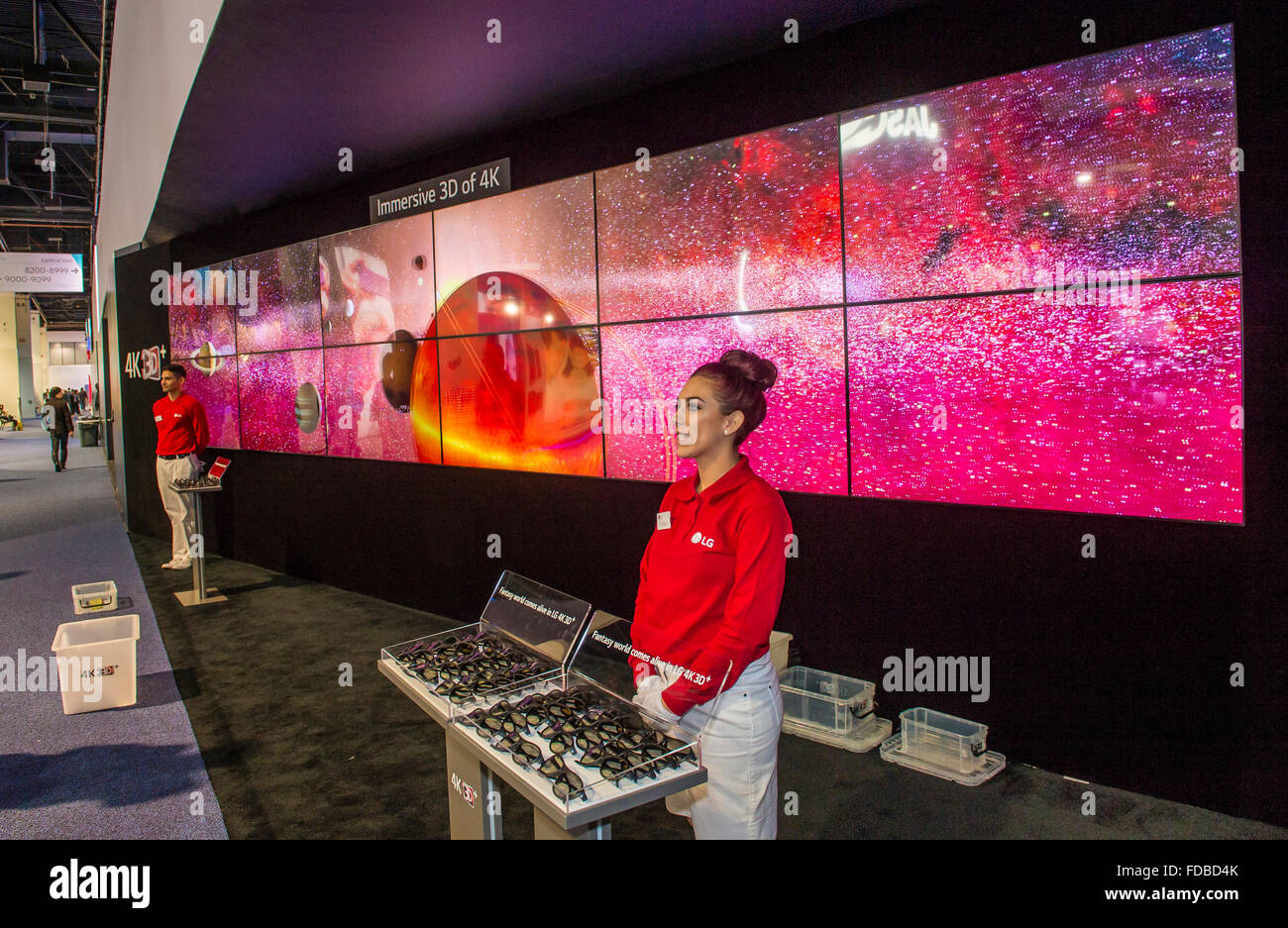 3D video wall at the LG booth at the CES show in Las Vegas Stock