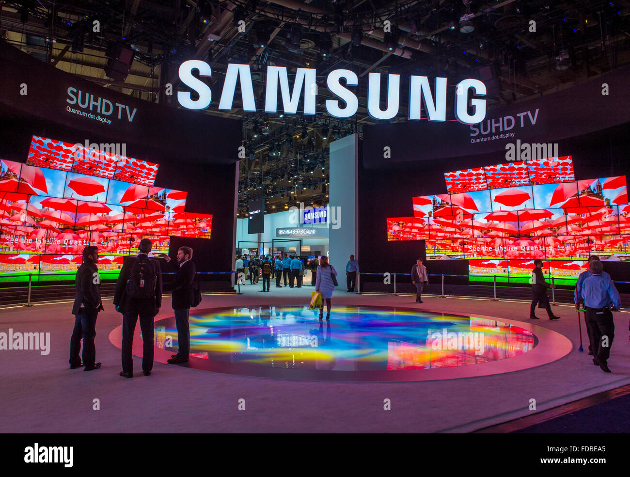 The Samsung booth at the CES show held in Las Vegas - Stock Image