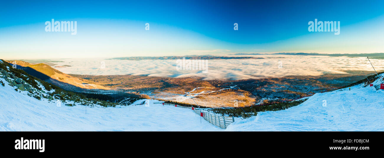 TATRANSKA LOMNICA, SLOVAKIA - DEC 23, 2015: Panoramic view of ski resort in Tatranska Lomnica, High Tatras. - Stock Image