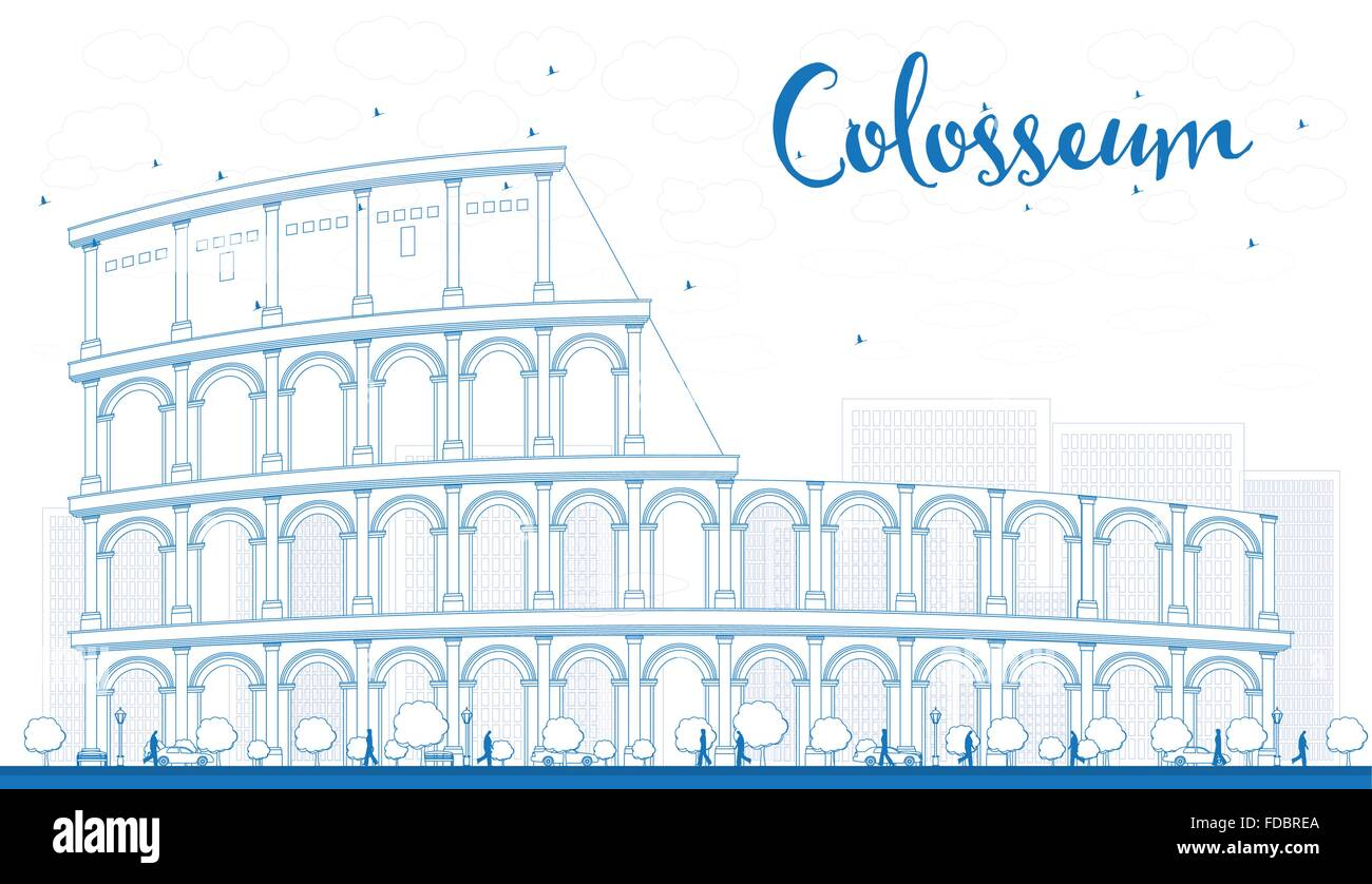Outline Colosseum In Rome Italy Vector Illustration