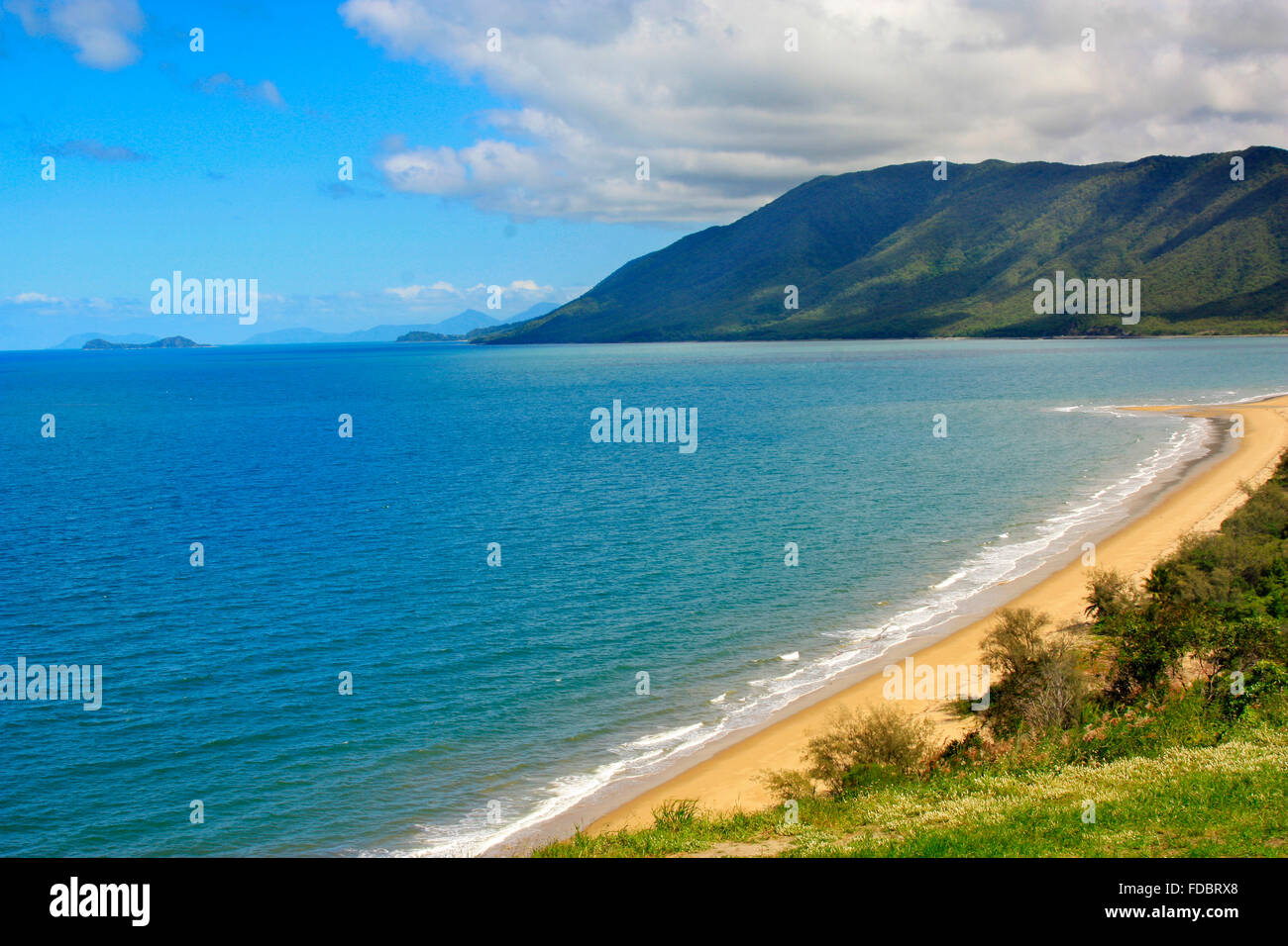 Rex lookout Port Douglas with a view of Double Island near Cairns Australia - Stock Image
