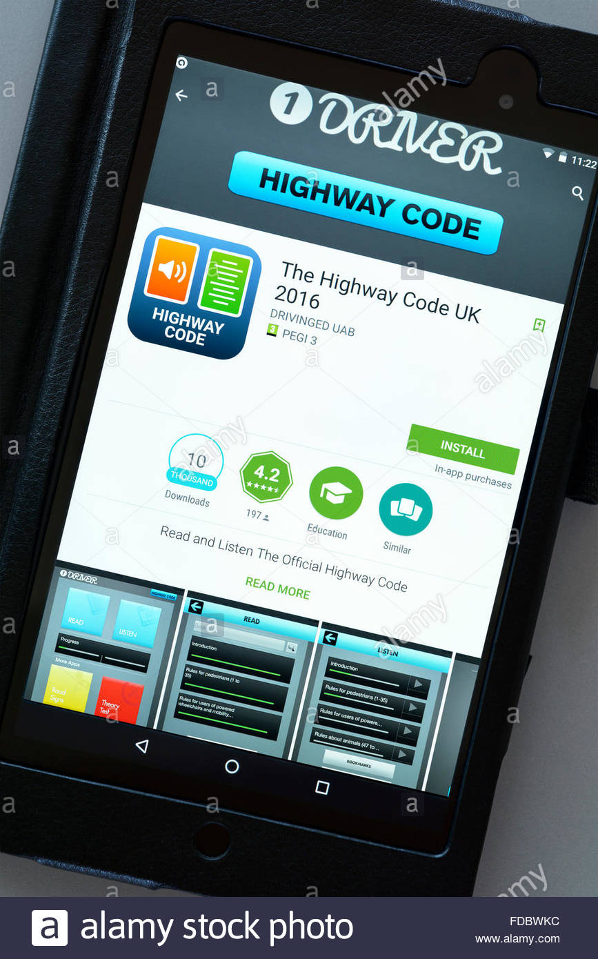 UK driving Highway Code app on an android tablet PC, Dorset, England, UK - Stock Image