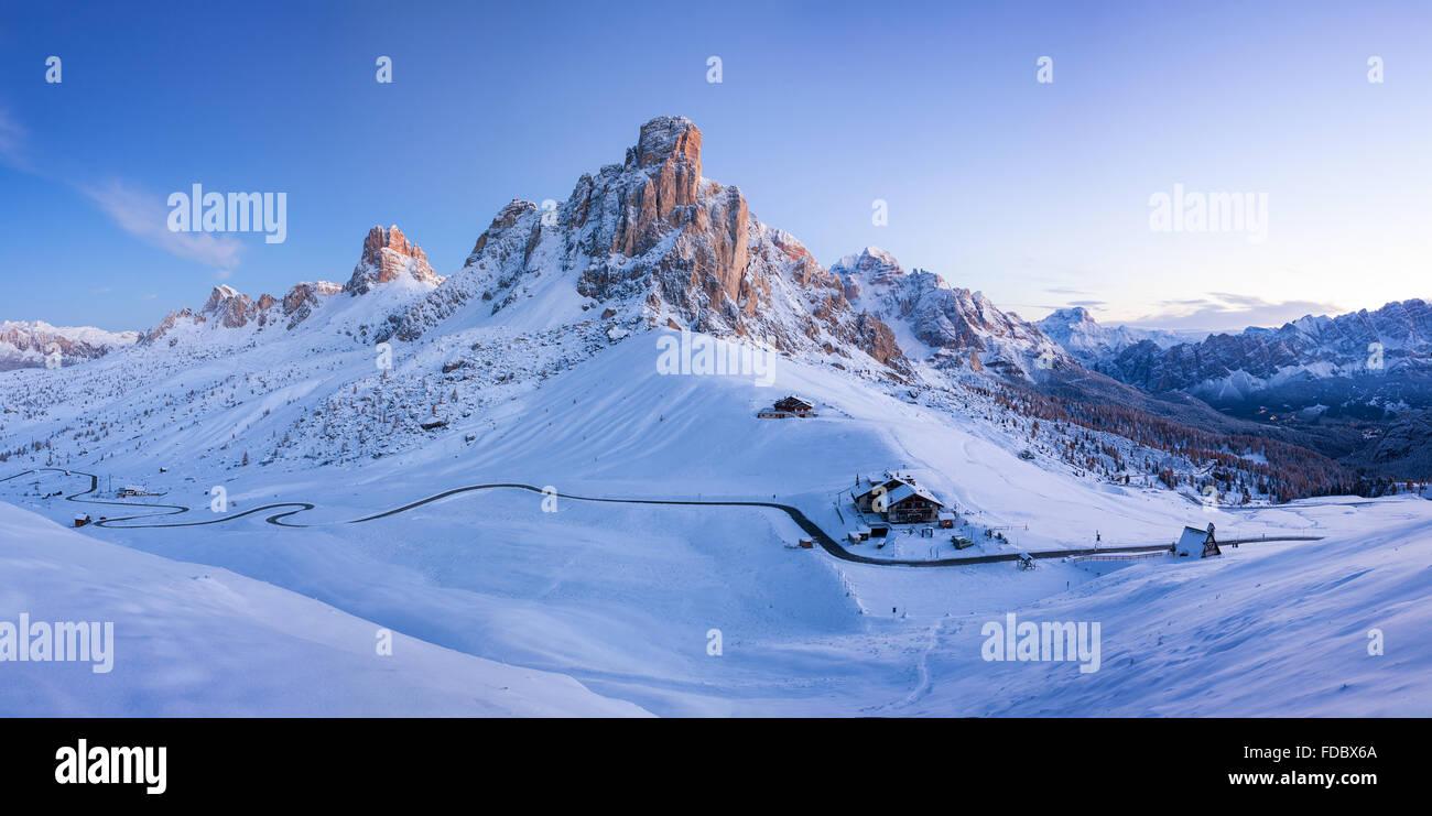 Winter landscape of Passo Giau, Dolomites, Italy - Stock Image