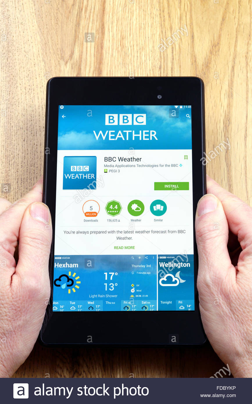 BBC weather app on an android tablet PC, Dorset, England, UK - Stock Image