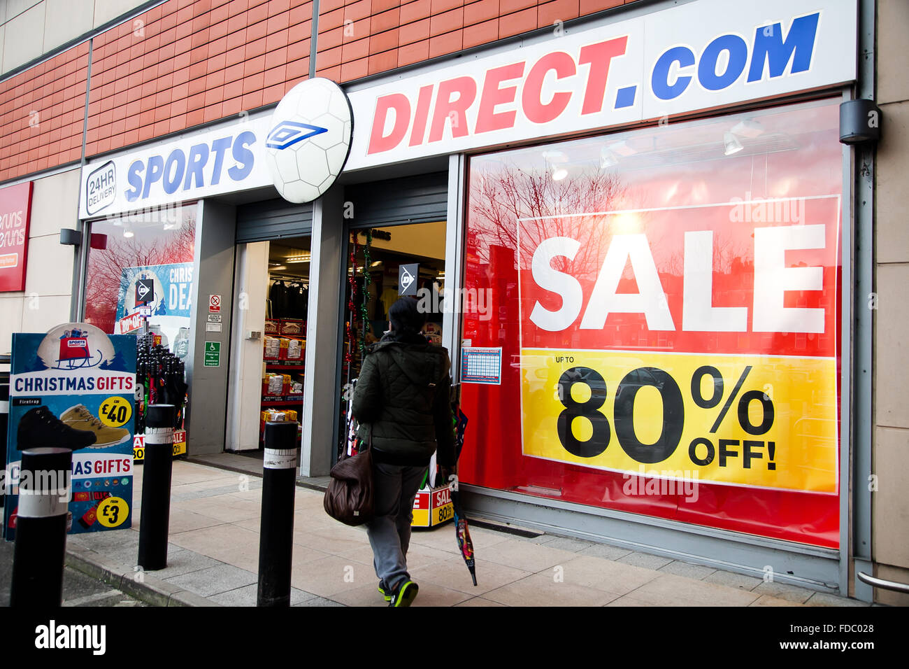 London, UK - Outside of a Sports Direct store in north