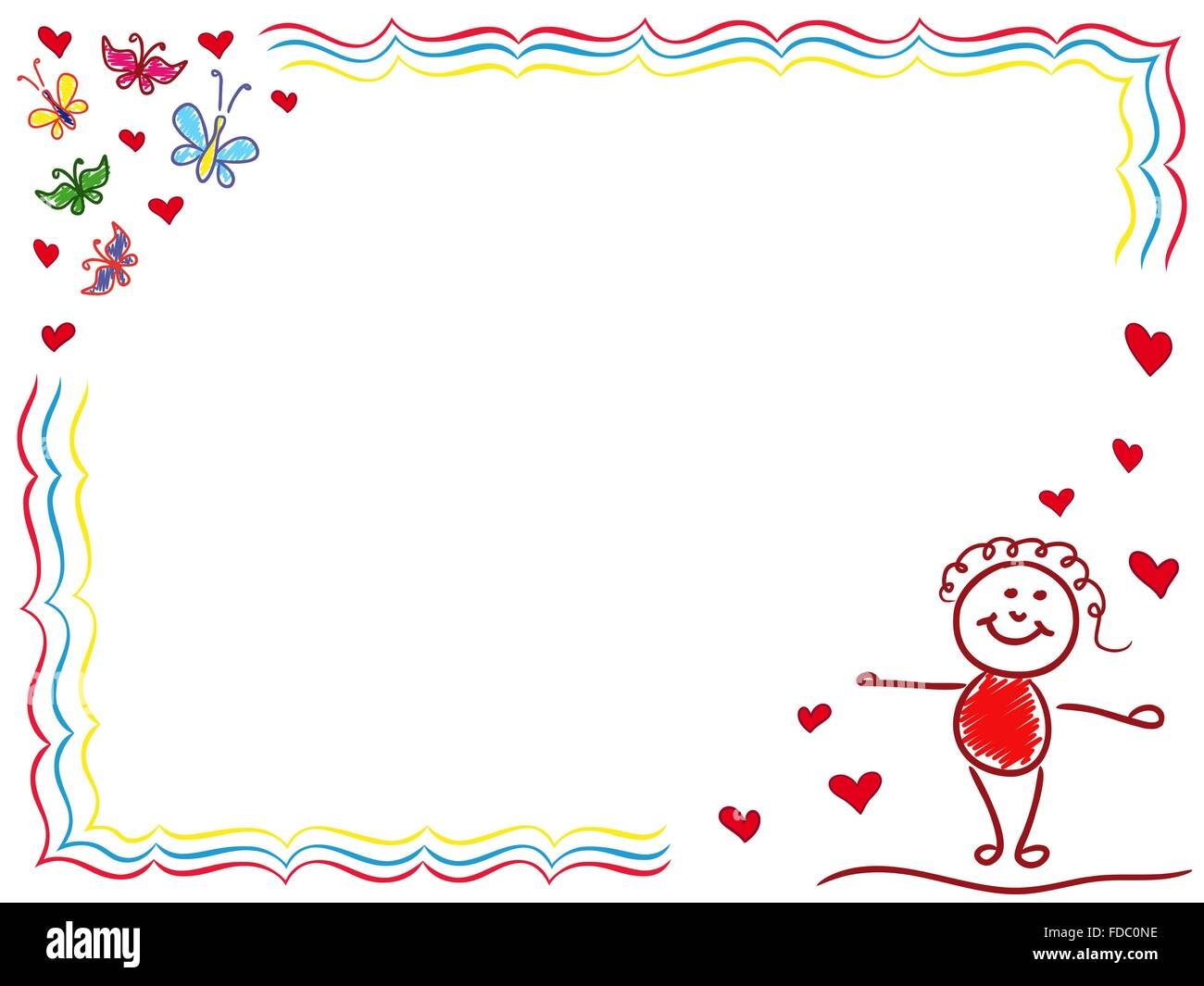 Girl In Love Hand Drawing Vector Cartoon Valentine Greeting Card