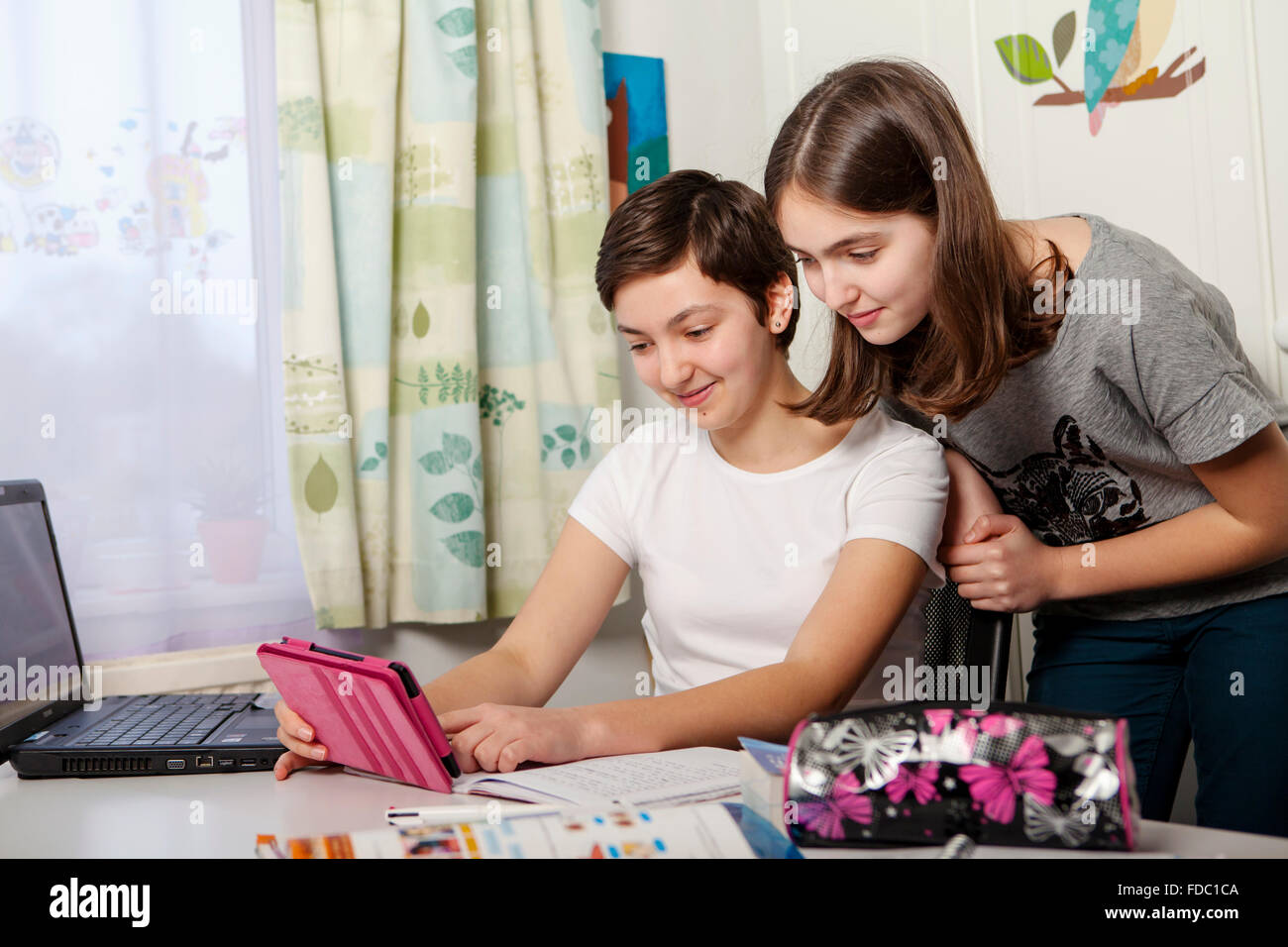 Two teenage sisters at home with  tablet - Stock Image