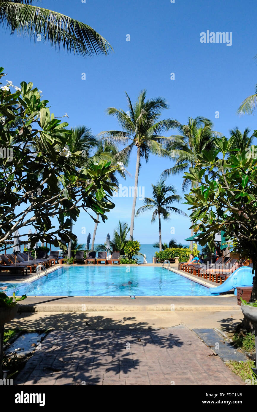 Hotel swimming pool beside the picturesque Coco Palm Beach Resort on Koh Samui island, Thailand Stock Photo