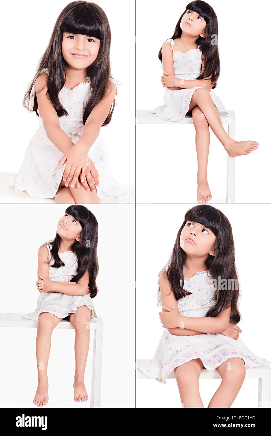 1 Indian Beautiful Little Girl Sitting Bench Facial Expression Montage Picture - Stock Image