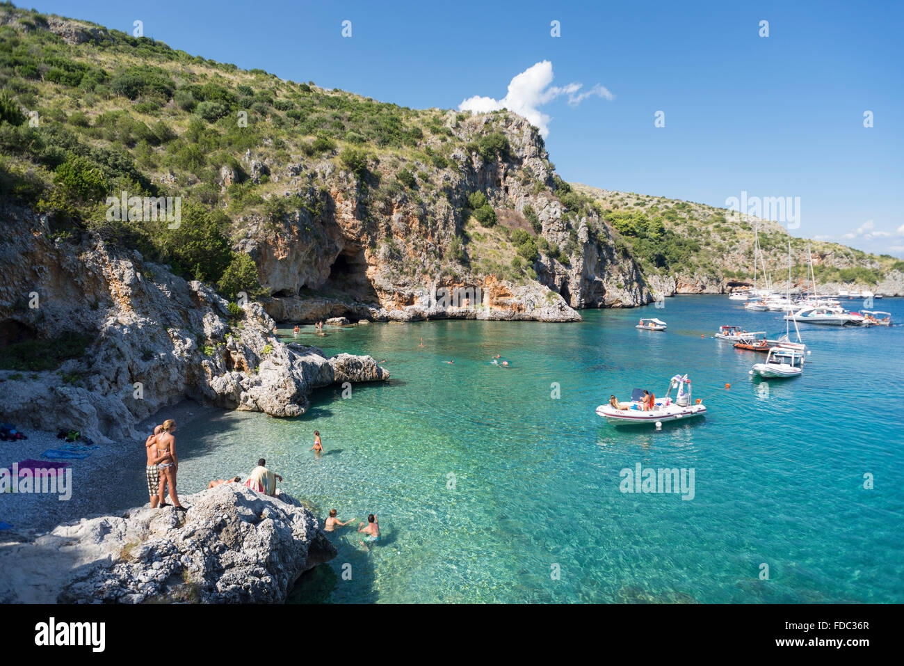 Hot springs underneath the cavern in the Baia degli Infreschi bay with at the Mediterranean Sea coast in Cilento,Campania, - Stock Image