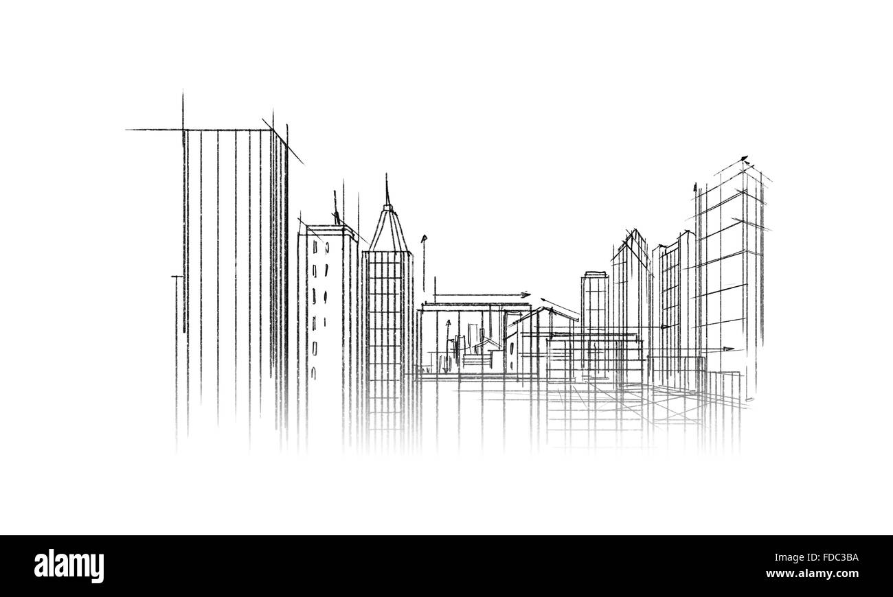 Background image with urban construction pencil sketch stock image