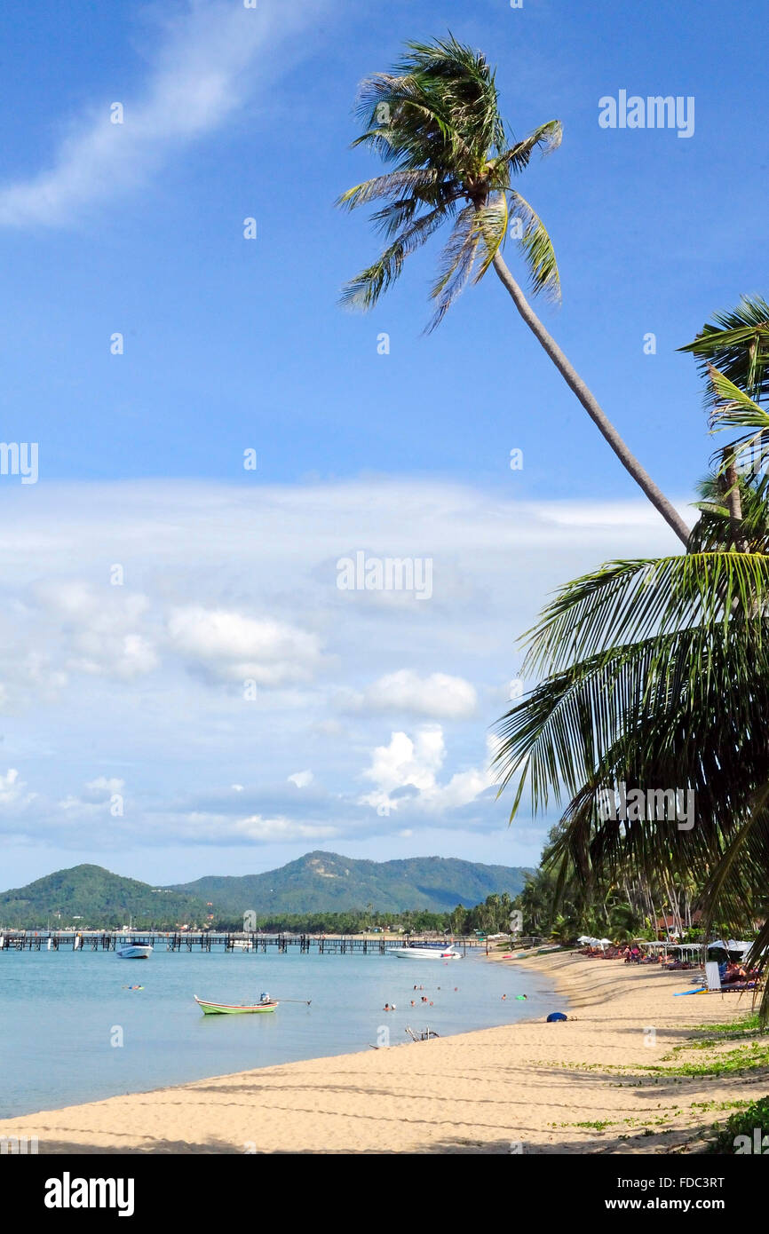 a beautiful view of Maenam Beach, Koh Samui Island, Surat Thani Province, Thailand, Southeast Asia Stock Photo