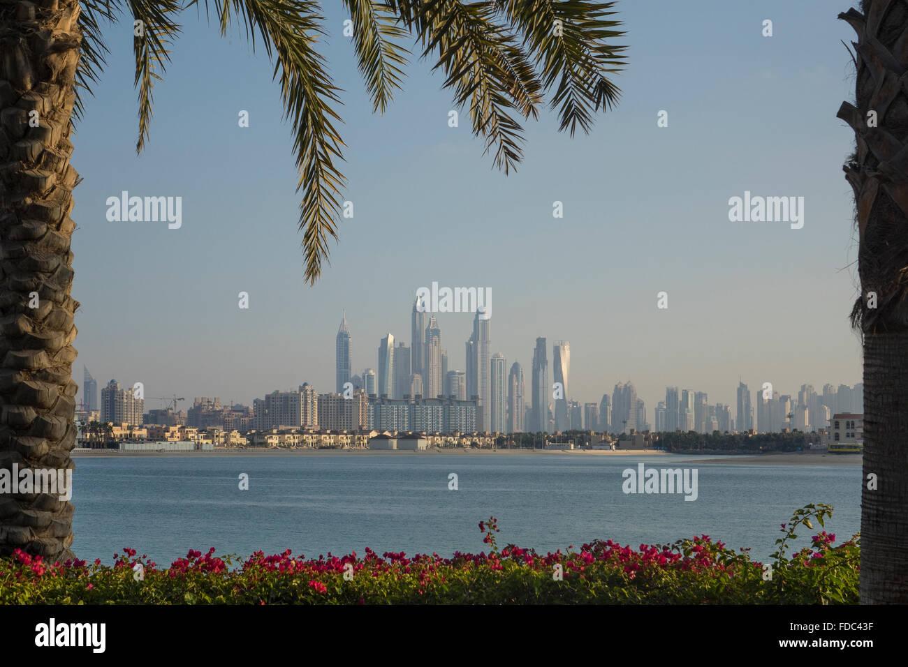 United Arab Emirates, Dubai, Jumeirah skyline from the Palm - Stock Image